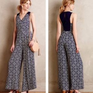 Anthropology Elevenses Navy Wide Leg Romper